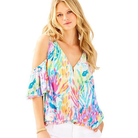 9516f69dd64 Lilly Pulitzer Tops | Nwt Bellamie Top In Sparkling Sands | Poshmark